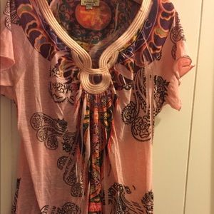 One world women's peach pink blouse